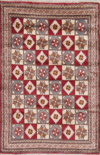 Geometric Gabbeh Shiraz Persian Hand-Knotted 3x5 Wool Rug