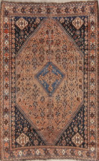 Pre-1900 Antique Qashqai Shiraz Persian Hand-Knotted 5x8 Wool Area Rug