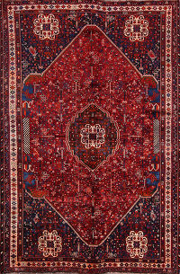 Geometric Tribal Abadeh Shiraz Persian Area Rug 7x10