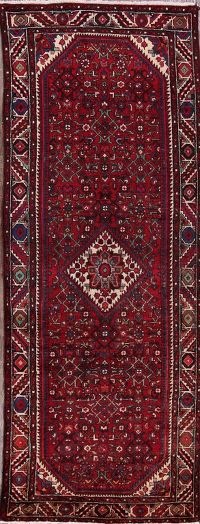 Red Geometric Hamedan Persian Hand-Knotted 4x10 Wool Runner Wool