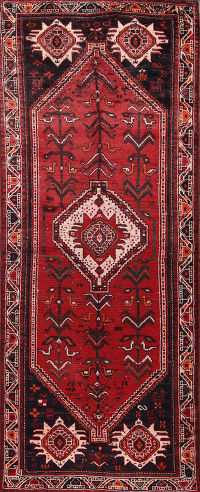 Antique Tribal Red Shiraz Persian Runner Rug 4x9