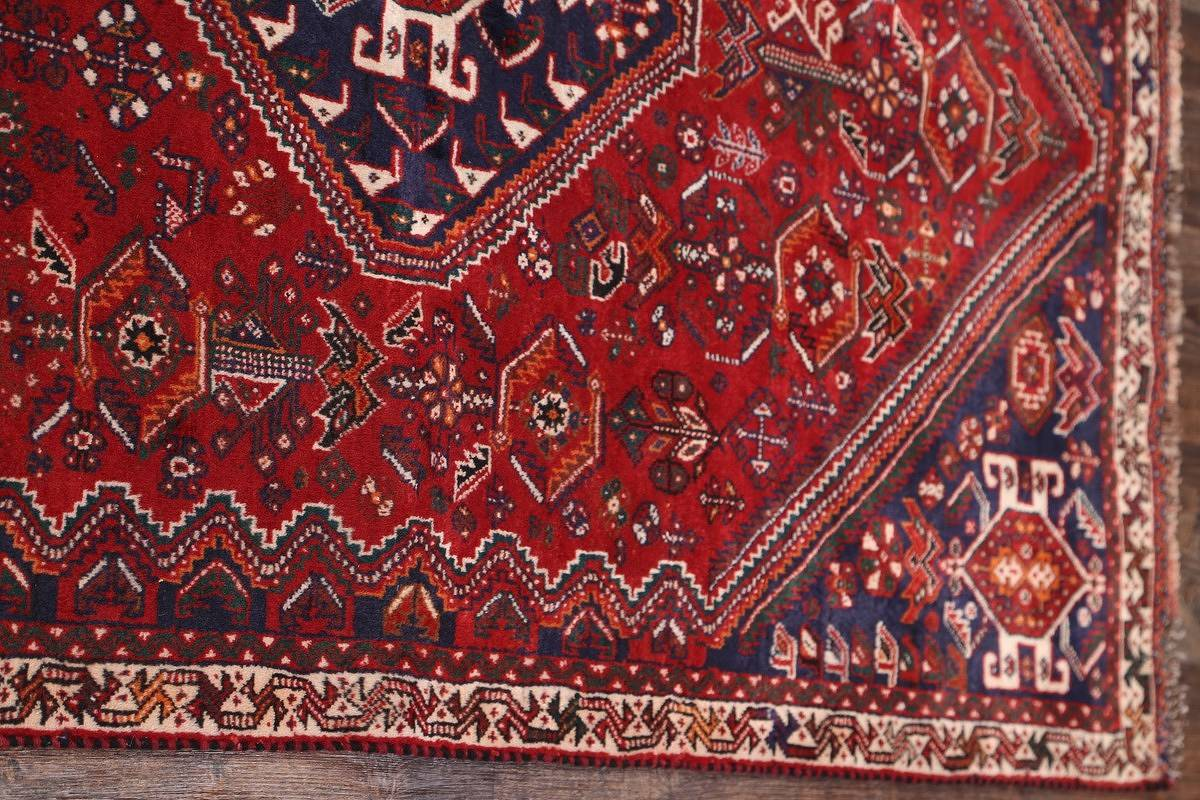 Tribal Red Abadeh Shiraz Persian Runner Rug 4x9