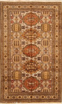 Geometric Tribal Ardebil Persian Hand-Knotted 5x9 Wool Rug