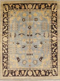 All-Over Floral Grey Blue 9x12 Agra Jaipur Indian Oriental Area Rug