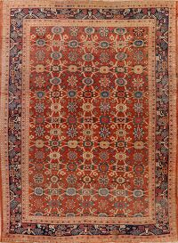 Pre-1900 Antique 9x12 Sultanabad Persian Area Rug