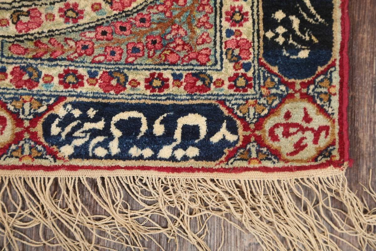 Pre-1900 Antique Minatory Ravar Kerman Persian Rug 2x3 image 4
