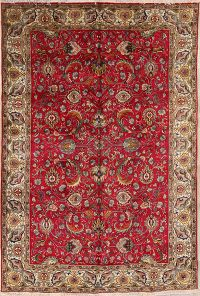 All-Over Floral Red 7x10 Tabriz Persian Area Rug