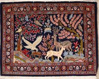 Animal Pictorial Square Kashan Persian Rug 3x3