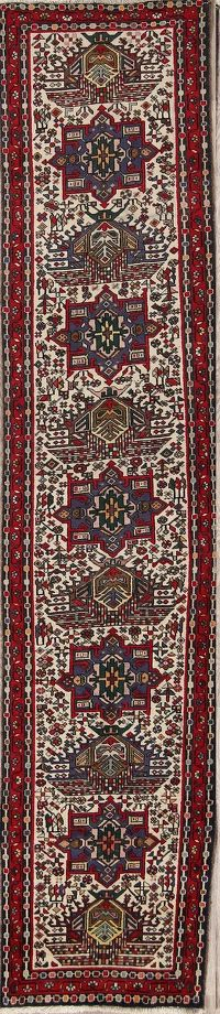 Geometric Tribal 3x12 Gharajeh Heriz Persian Rug Runner