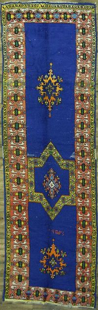 Geometric Blue Moroccan Oriental Hand-Knotted 5x15 Wool Runner Rug