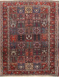 Pre-1900 Vegetable Dye Antique Garden Design 7x10 Bakhtiari Persian Area Rug