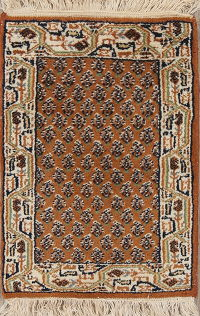 Geometric Botemir Indian Oriental Hand-Knotted 1x2 Wool Rug