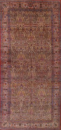 Mansion Size Antique Kerman Ravar Persian Area Rug 9x18