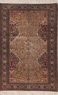Antique 5x7 Mashad Persian Area Rug
