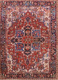 Pre-1900 Geometric Antique 8x11 Heriz Serapi Persian Area Rug