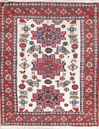 Geometric Tribal Ivory 4x5 Ardebil Persian Area Rug