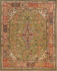Pre-1900 Antique Green 6x8 Oushak Turkish Oriental Area Rug