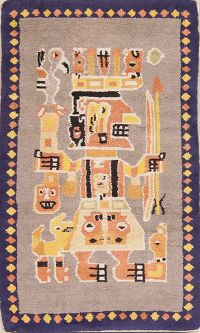 Pictorial 3x5 Art Deco Chinese Oriental Area Rug