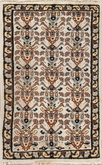 Geometric Tribal Moroccan Oriental Hand-Knotted 3x5 Wool Rug