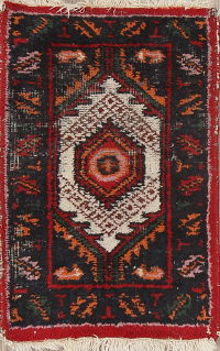 Geometric Heriz Indian Oriental Hand-Knotted 1x2 Wool Rug