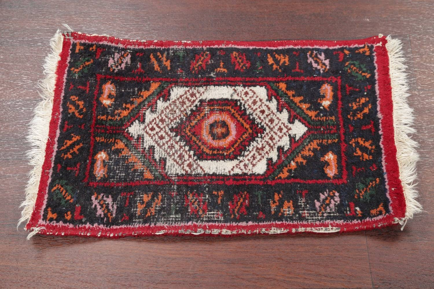 Geometric Heriz Indian Oriental Hand Knotted 1x2 Wool Rug