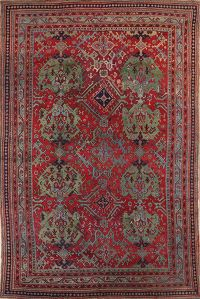 Pre-1900 Antique 10x14 Oushak Turkish Oriental Area Rug
