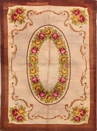 Transitional Savonnerie Aubusson 6x9 Oriental Area Rug