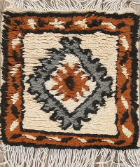 Geometric Moroccan Oriental Hand-Knotted 1x1 Wool Square Rug
