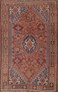 Pre-1900 Antique Tribal Abadeh Persian Hand-Knotted 5x8 Area Rug