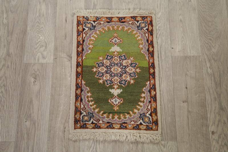 Floral Green Mashad Persian Hand-Knotted Rug Wool 1x2