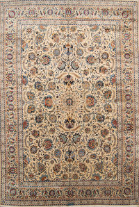 All-Over Floral Green Kashan Persian Area Rug 11x16