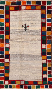 Beige Tribal Gabbeh Shiraz Persian Hand-Knotted Area Rug Wool 3x5