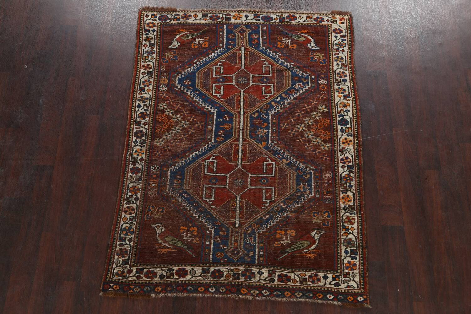 Pre-1900 Antique Ghashghaie Persian Area Rug 5x6 image 2