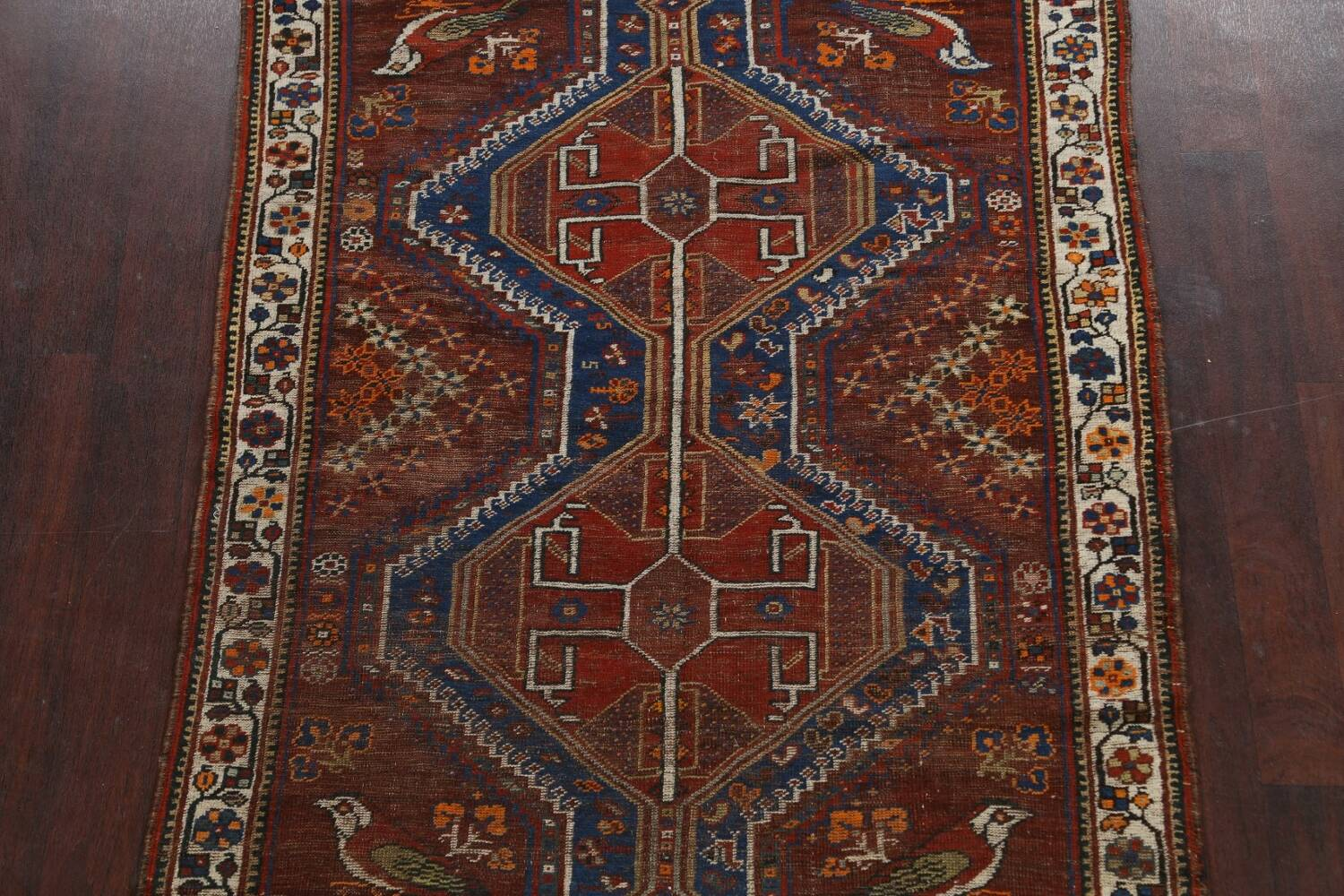 Pre-1900 Antique Ghashghaie Persian Area Rug 5x6 image 3