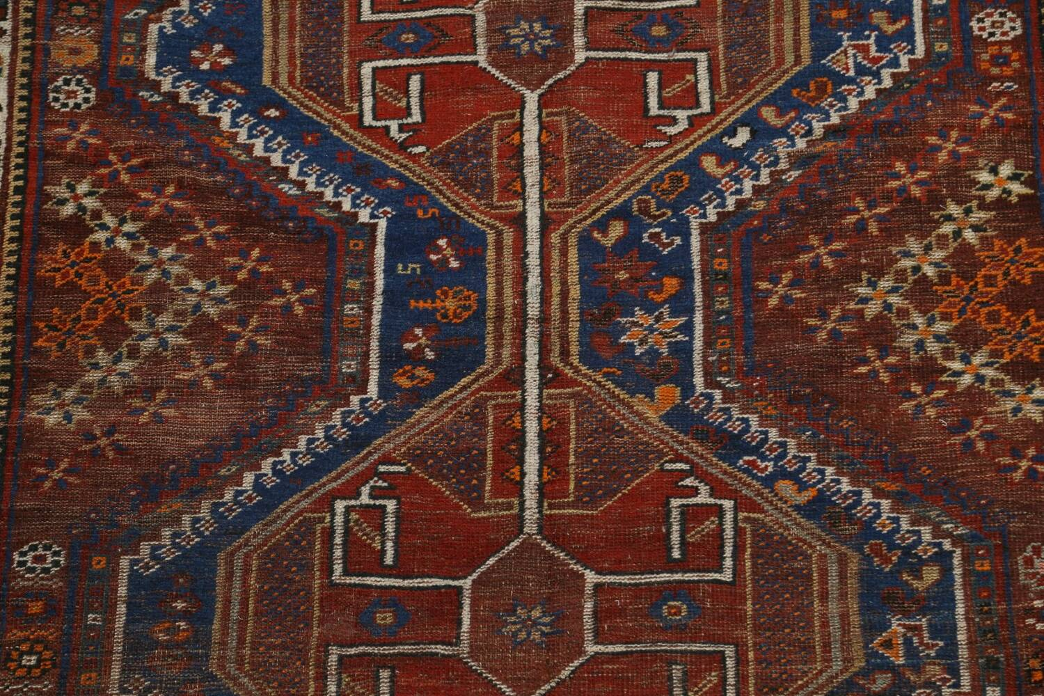 Pre-1900 Antique Ghashghaie Persian Area Rug 5x6 image 4