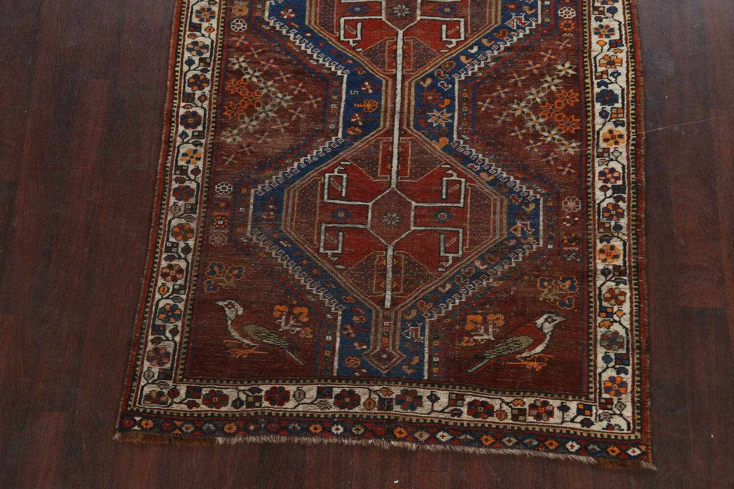 Pre-1900 Antique Ghashghaie Persian Area Rug 5x6 image 8