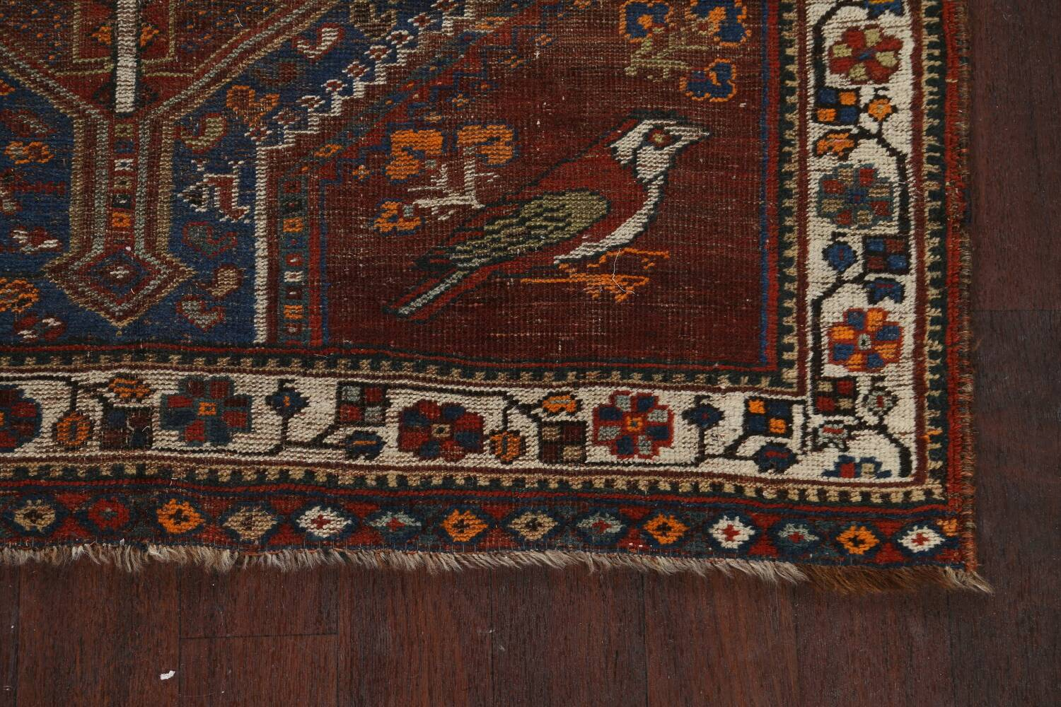 Pre-1900 Antique Ghashghaie Persian Area Rug 5x6 image 5