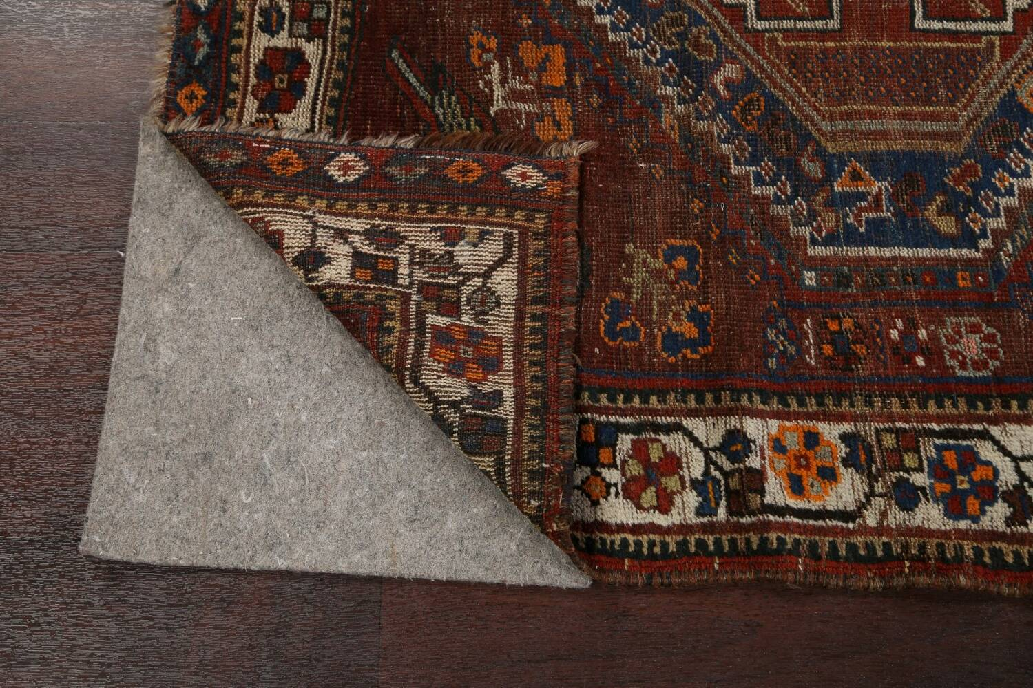 Pre-1900 Antique Ghashghaie Persian Area Rug 5x6 image 7