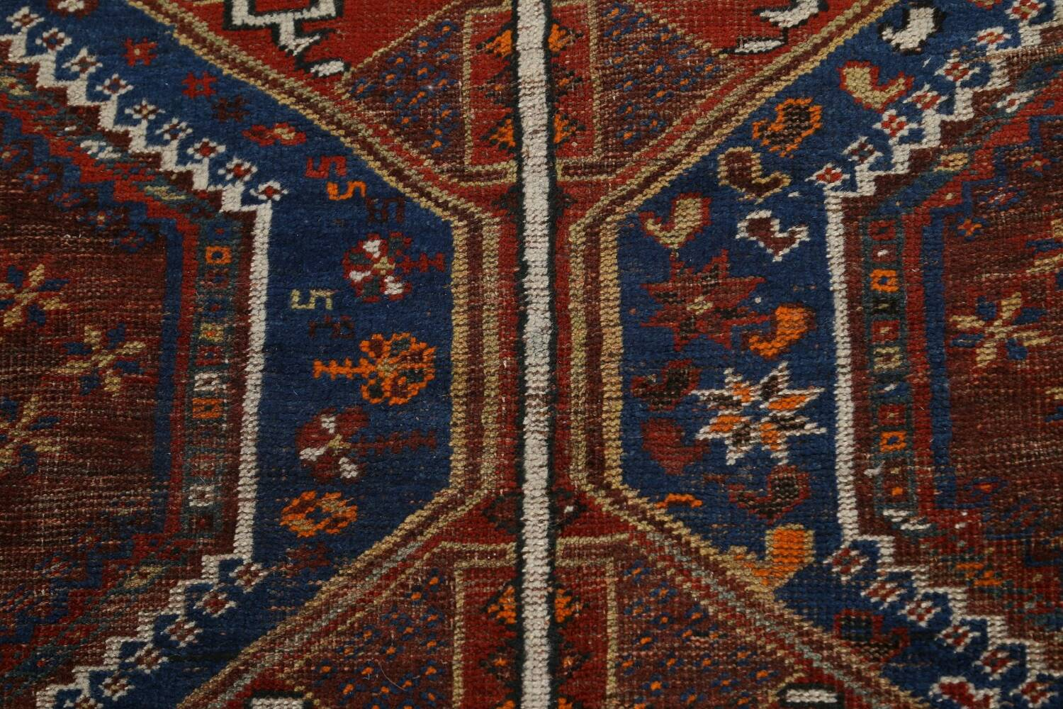 Pre-1900 Antique Ghashghaie Persian Area Rug 5x6 image 11