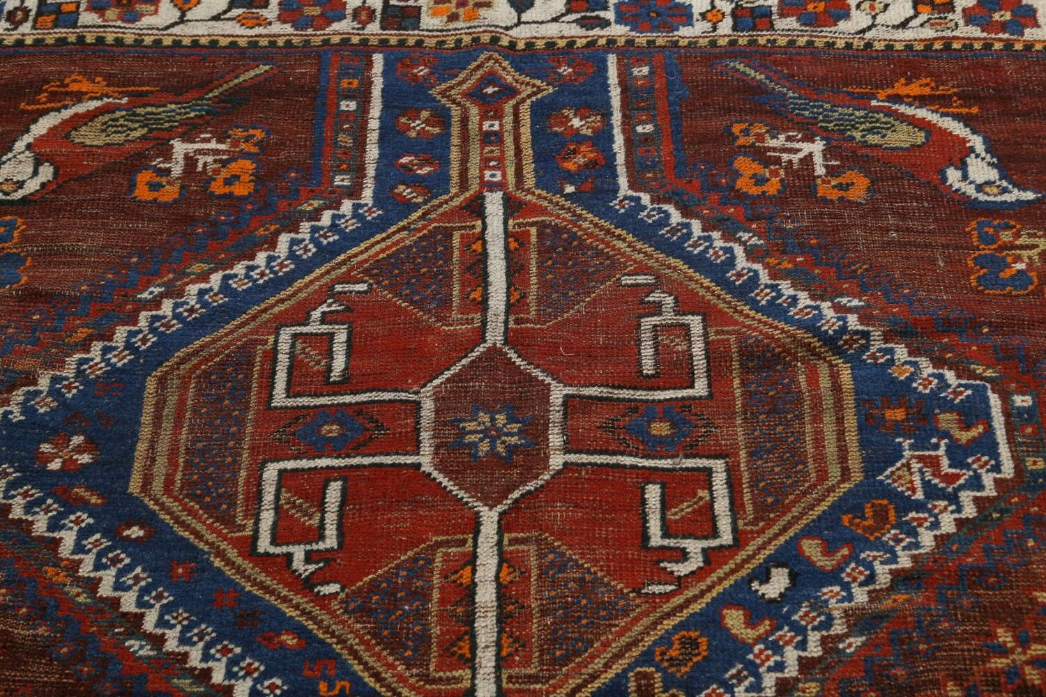 Pre-1900 Antique Ghashghaie Persian Area Rug 5x6 image 12