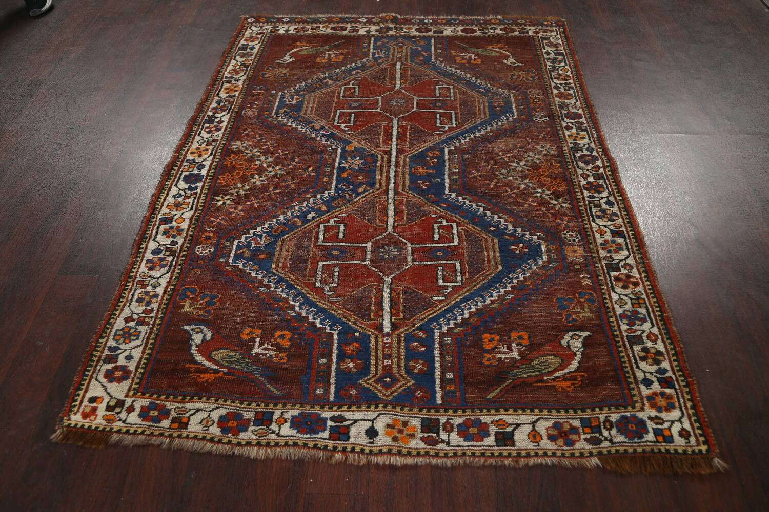 Pre-1900 Antique Ghashghaie Persian Area Rug 5x6 image 17