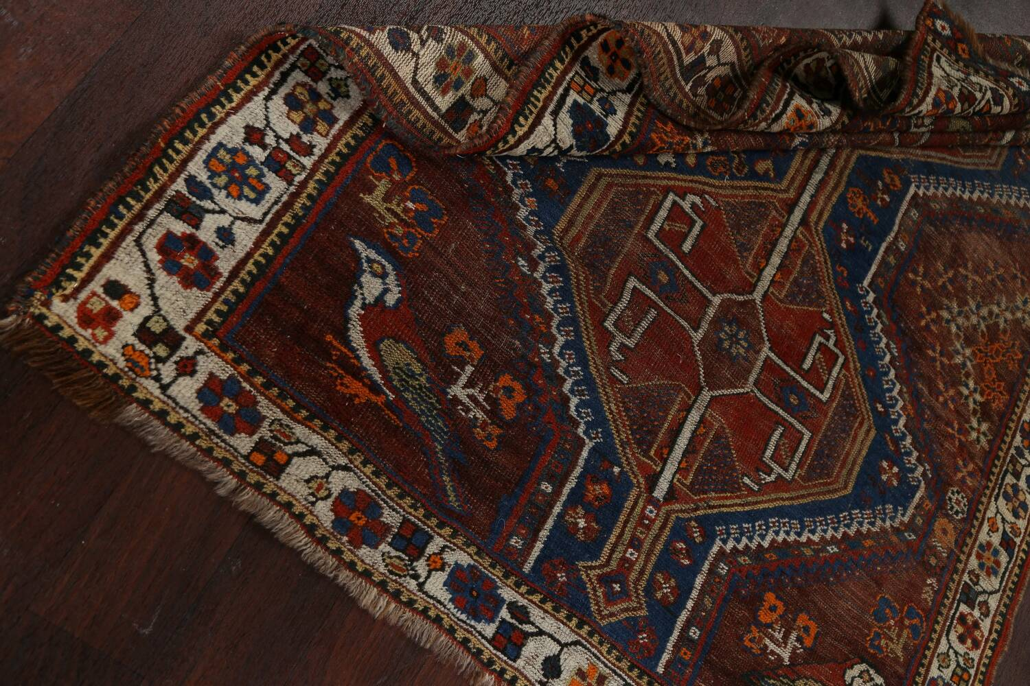 Pre-1900 Antique Ghashghaie Persian Area Rug 5x6 image 19