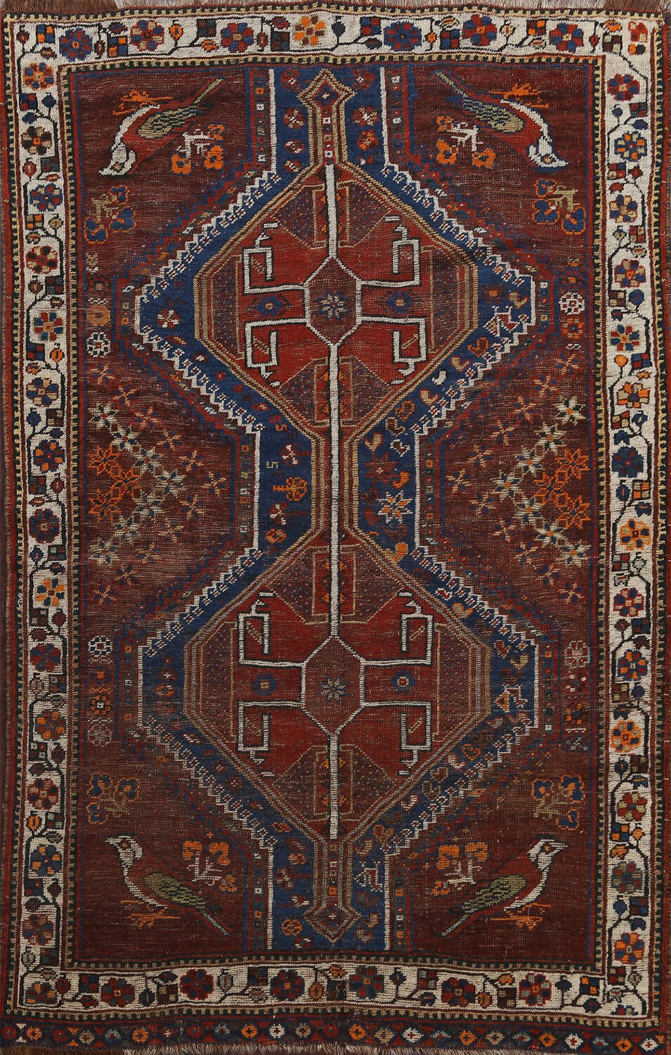 Pre-1900 Antique Ghashghaie Persian Area Rug 5x6 image 1
