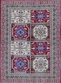 Geometric Red Moroccan Oriental Hand-Knotted Area Rug Wool 4x6