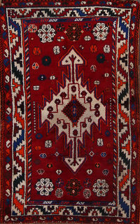Tribal Red Kazak Caucasian Russian Oriental Area Rug 4x6