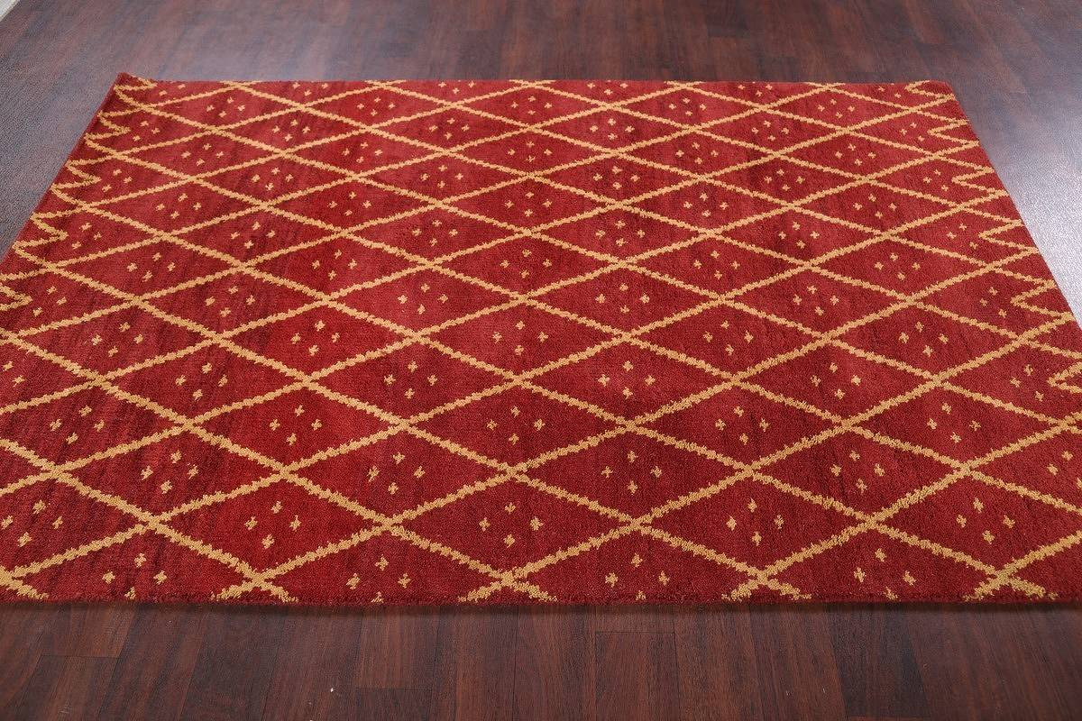 Geometric Hand Knotted 5x8 Moroccan Trellis Oushak Indian Oriental Area Rug