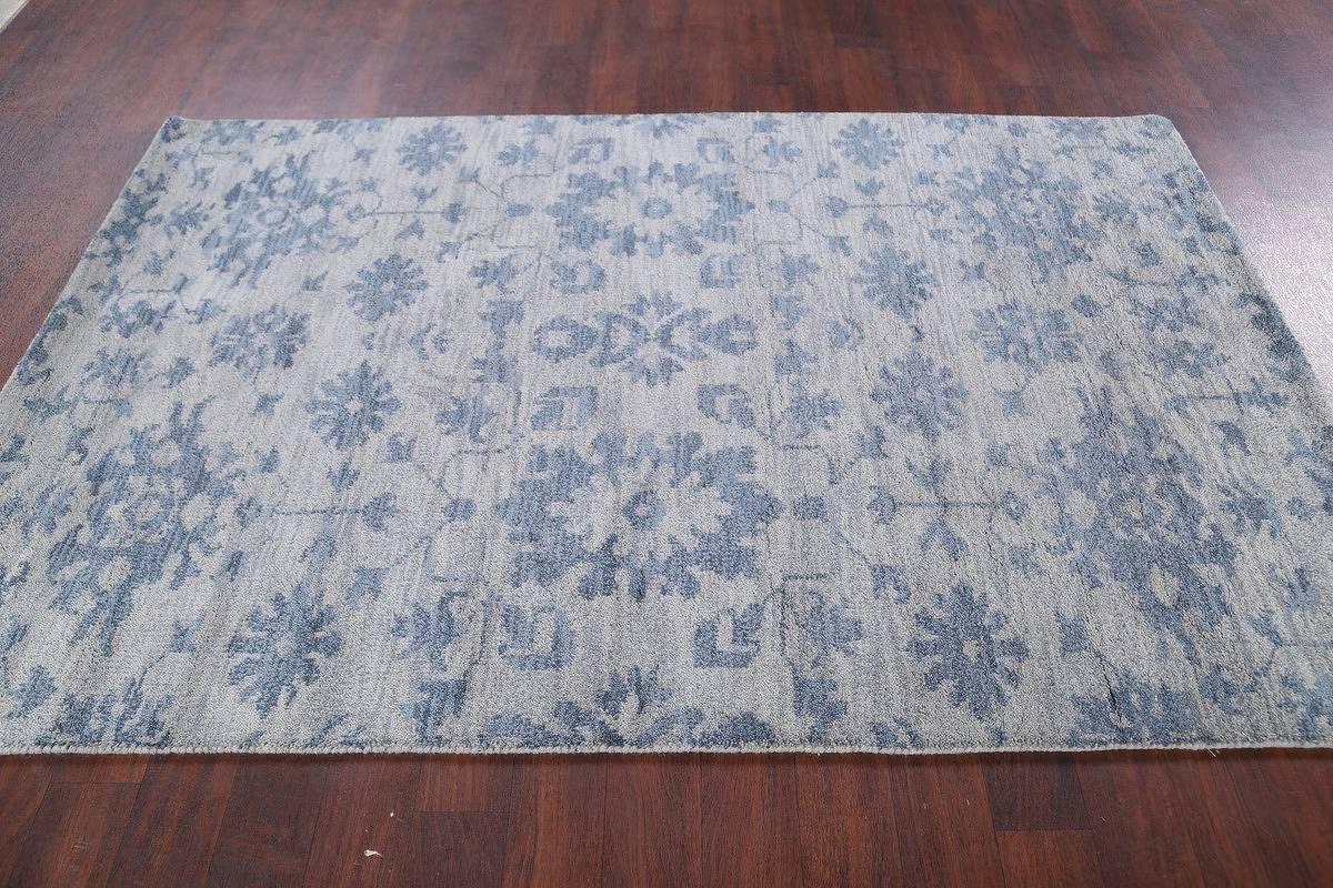 Transitional Floral Blue 5x8 Moroccan Oushak Indian Oriental Area Rug