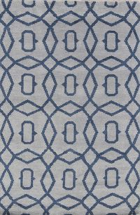 Geometric Circles Blue 5x8 Moroccan Trellis Indian Oriental Area Rug