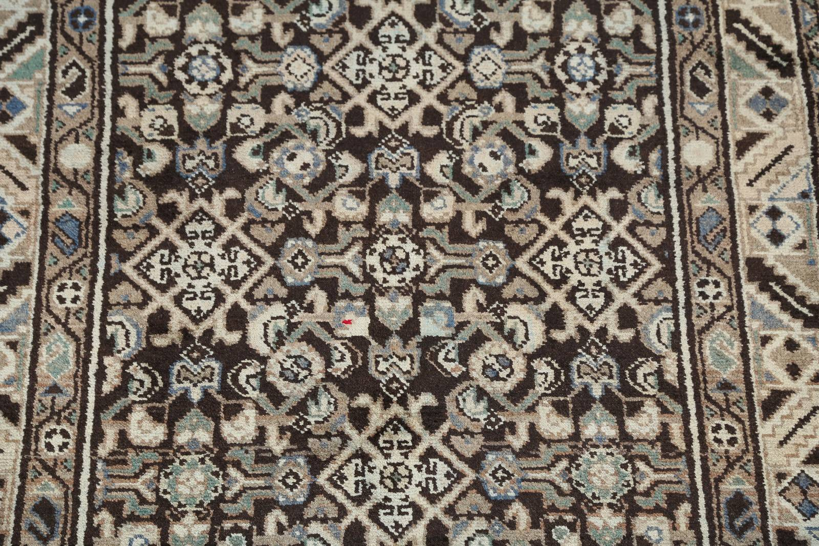 All-Over Floral Muted 4x14 Hamedan Persian Rug Runner