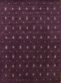 Purple/Ivory Gabbeh Oriental Hand-Knotted 8x11 Wool Area Rug